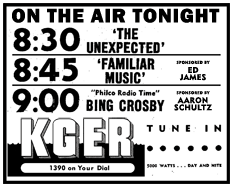 December 24th 1947 Spot ad for the KGER run of The Unexpected