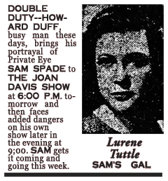The Bakersfield Californian of January 4th 1948 announces a guest appearance of Sam Spade on The Joan Davis Show