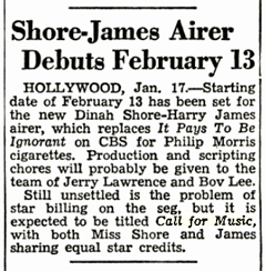 The Billboard teases the new Philip Morris program, Call for Music, co-starring Dinah Shore and Harry James (Jan 24th 1948)