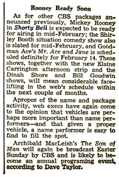 Billboard teaser of January 31st 1948 still cites a mid-February debut of Shorty Bell. The article also cites a 'Shirley Booth sitcom which would have been 'Our Miss Brooks'