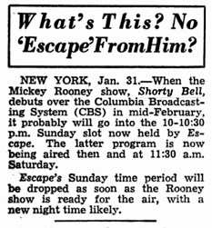 Billboard article teasing an anticipated Mickey Rooney vehicle--Shorty Bell--over CBS in the mid-February time frame.