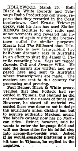 March 1948 Billboard news story about the increasing trend toward recording programs in Mexico, Puerto Rico and Australia to skirt the second 'Petrillo Ban' of 1948