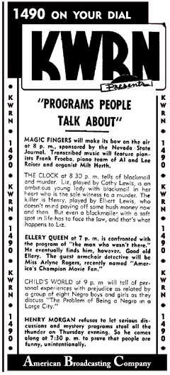 The Adventures of Ellery Queen moved to ABC for its final run from 1947-forward as an entirely West Coast production