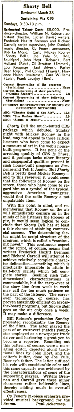 Billboard review of Shorty Bell from April 10th 1948