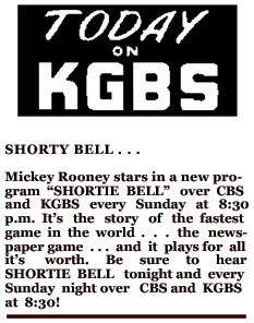 KGBS spot ad promoting Shorty Bell over CBS from April 11th 1948