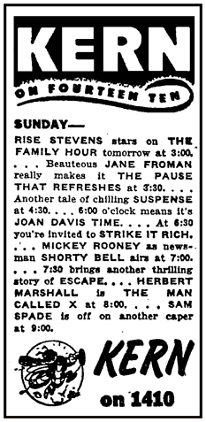 KREN spot ad promoting Shorty Bell from May 8th 1948