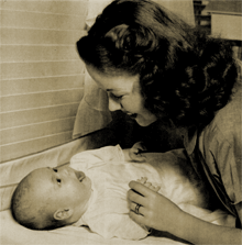 Shirley Temple talks to her baby, Linda Susan, for May 31st 1945 LIFE magazine.