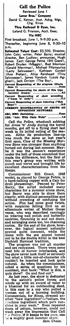 1948 Billboard Review of the second Summer Season of Call for the Police