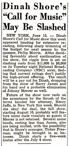 While holding open the door for a possible Fall Season of Call for Music, Dinah Shore apparently felt that the proposed downsizing of the popular feature didn't merit her return. (The Billboard of June 19th 1948)