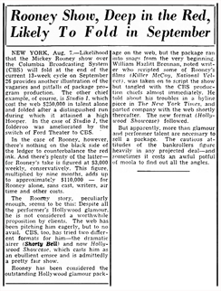 Billboard article of August 14th 1948 cites the cancellation of Mickey Rooney's second lead outing over Radio, Hollywood Showcase
