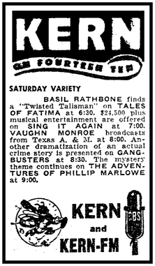 KERN spot ad from February 12th 1949 promotes the 'Twisted Talisman' episode of Tales of Fatima.