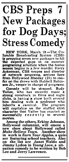 The Billboard of March 26th 1949 first teased Young Love as a Summer program.