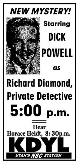 Richard Diamond, Private Detective premiere spot ad from April 24, 1949