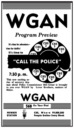 WGAN spot ad for Call the Police from June 5th 1949
