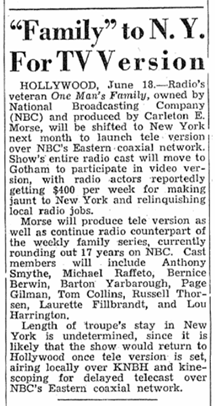 Billboard announcement of contemplated One Man's Family over Television from June 25 1949