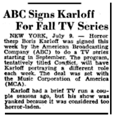 First tease of a Fall 1949 Television series starring Boris Karloff over ABC in The Billboard of July 16th 1949.