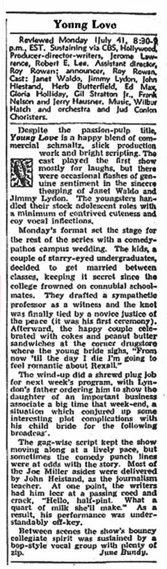 The Billboard reviewed the premiere of Young Love in its July 23rd 1949 issue.