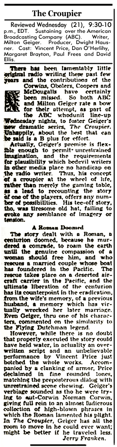 The Billboard reviewed the ABC premiere of The Croupier in its October 10th 1949 issue.