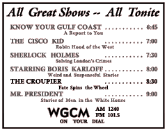 November 30th 1949 spot ad for The Croupier
