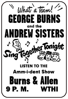 Amm-i-dent Show spot ad for the December 7th 1949 guest appearance of the Andrews Sisters