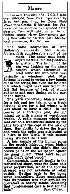 Somewhat lackluster Billboard review of the M-G-M Radio Attractions transcription of Maisie which aired on December 8th 1949 on WMGM