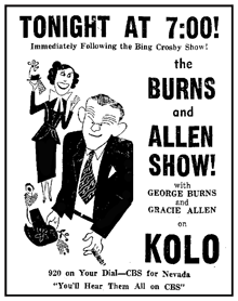 Spot ad for Amm-i-dent's Burns and Allen Show from December 21st 1949