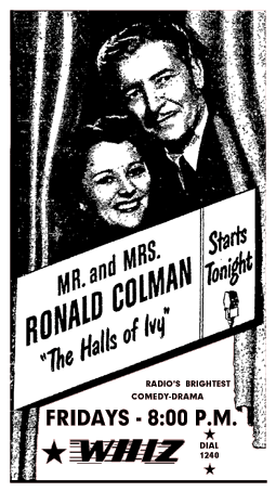 Premiere spot ad for The Halls of Ivy from January 6 1950