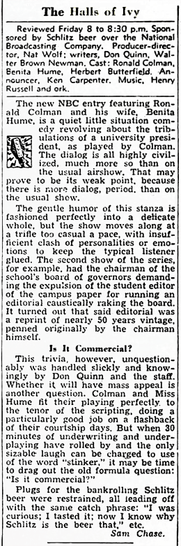 Billboard magazine review of The Halls of Ivy from January 28 1950