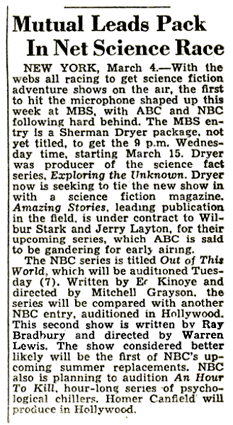 Billboard article of March 11th 1950 cites all four major networks scrambling to jump on the 'science' trend of the era.