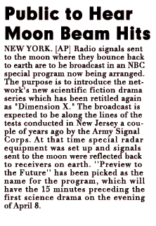 NBC's announcement of the 15-minute special entitled Preview to the Future to air immediately before the premiere of Dimension X