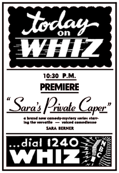 Premiere announcement of Sara's Private Caper over WHIZ