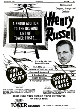 Henry Russell and Vic Knight combined to create a best selling record from the catchy 'The Halls of Ivy' theme as well as the 'Drink, Drink, Drink' song introduced in The Halls of Ivy Program No. 20 'Doctor Abel Kandor of Ivy' --Billboard magazine of September 9 1950