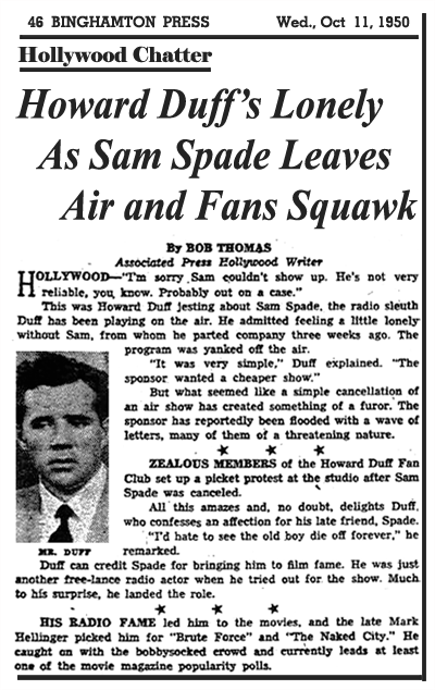 News article of October 11th 1950 cites Sam Spade fans' dissatisfaction with the cancellation of The Adventures of Sam Spade