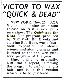 Billboard magazine announcement of RCA Victor's intent to produced a two-volume album from the four-part The Quick and The Dead series from Dec 2 1950
