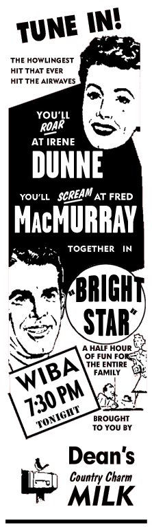 Wisconsin spot ad for Bright Star from Dean's Country Charm Milk of January 5 1952