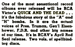 Billboard magazine review of RCA Victor's two-volume album from The Quick and The Dead series from Mar 17 1951