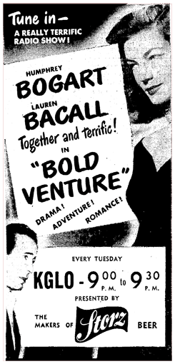 KGLO-CBS run of Bold Venture sponsored by Storz Beer from April 10 1951