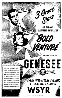 Premiere announcement of Bold Venture over WSYR Syracuse from 51-04-11