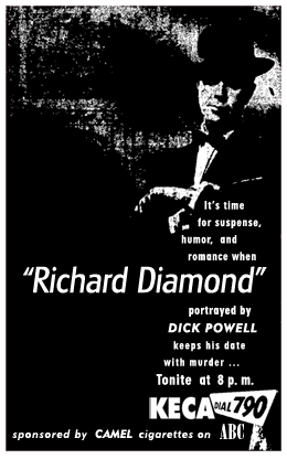 Richard Diamond spot ad for ABC Camel-sponsored run from April 20 1951