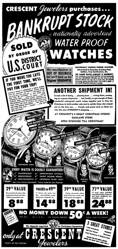 All Parker Watches on Sale from U.S. District Court-ordered Bankruptcy and liquidation of all Parker Watch holdings from December 5 1951