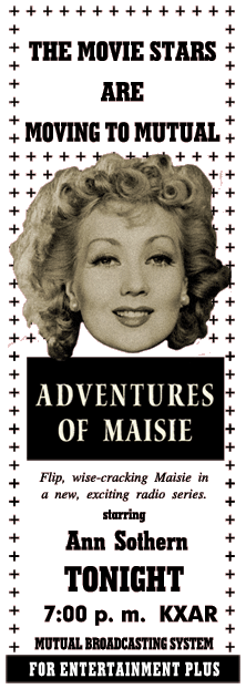 M-G-M/Mutual spot ad for the January 4th 1952 premiere of The Adventures of Maisie, by transcription.