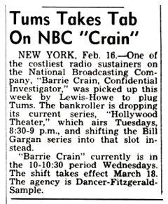 Tums picks up the tab for Barrie Craig beginning March 18 1952