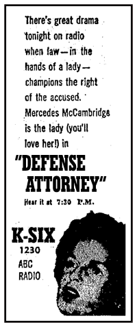 March 6th 1952 spot ad for Defense Attorney over KSIX