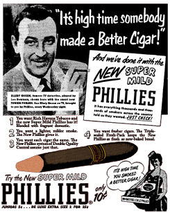 Lee Bowman featured in a Phillies Cigar ad promoting 1952's The Adventures of Ellery Queen over ABC-TV