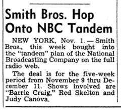 Smith Bros. Hops Onto NBC Tandem (from Nov 8 1952)