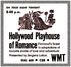 1952 Spot Ad for Jergens' Hollywood Playhouse of Romance