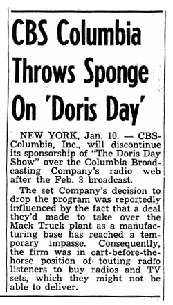 CBS-Columbia's big plans for rolling out a new line of Televisions hit a snag when Columbia failed to close a deal on the necessary manufacturing plant. Their sponsorship of The Doris Day Show disappeared with their plant deal.