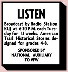 Walla Walla Union Bulletin announcement of The American Trail from Feb 1 1953.