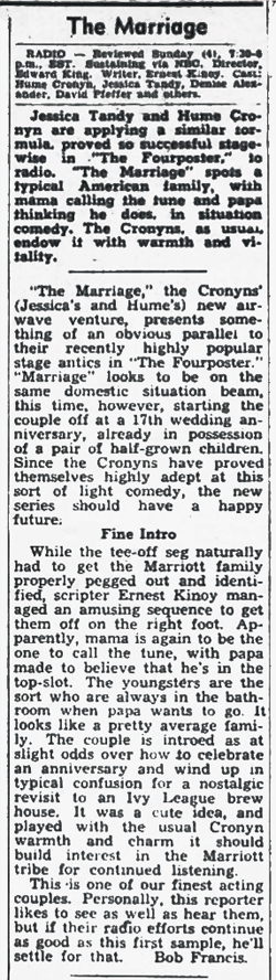 The Billboard review of the premiere of The Marriage from October 17 1953