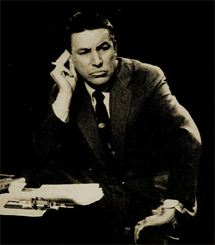 Mike Wallace grills another guest on his hard-hitting1957 interview program Nightbeat.